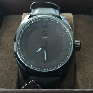 G by Guess black leather cuff watch